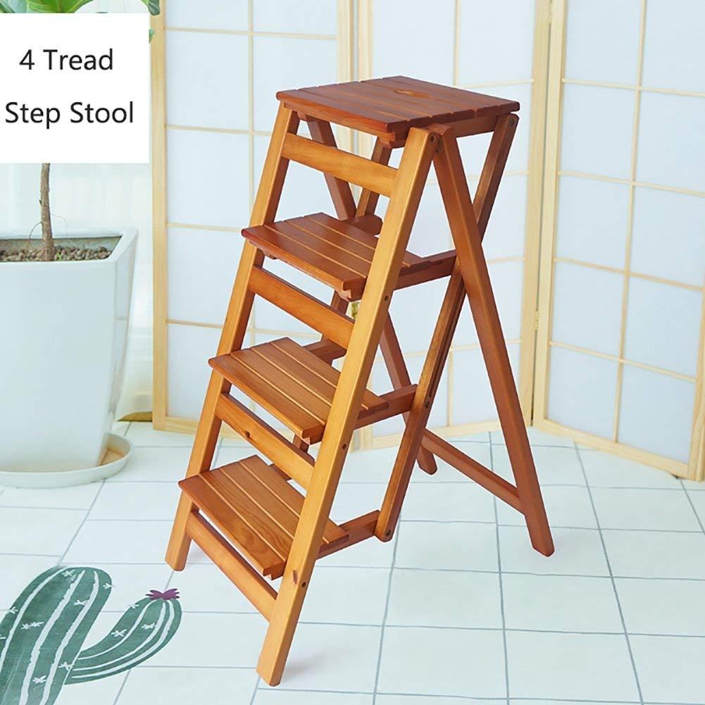 BROWN 4layer XITER Ladder Stool Household Wood Folding Ladder Anti-Slip Ladder Multi-Function 2,3,4-Step Ladder Portable Folding Ladder Flower Rack (color   Brown, Size   2 Layer)