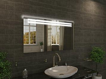 Badspiegel mit Beleuchtung Saint M42N1: Design Spiegel für Badezimmer,  beleuchtet mit Neon-Licht, modern - Kosmetik-Spiegel Toiletten-Spiegel Bad  ...