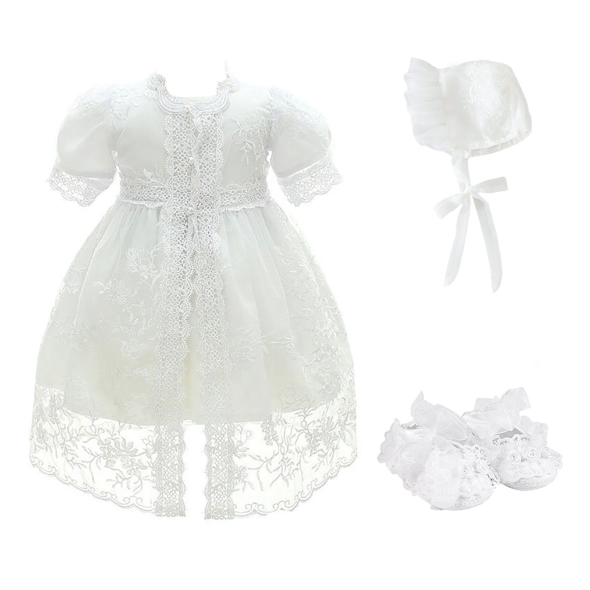 Glamulice Baby Girl Party Dress Christening Baptism Dresses Lace Princess Bow Formal Gown