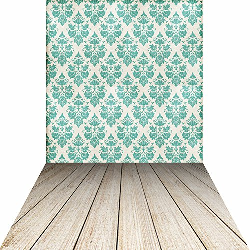 - KonPon Photography Background Green Damask Wallpaper Backdrop for Photo Studio Shooting Photobooth Photocall KP-105
