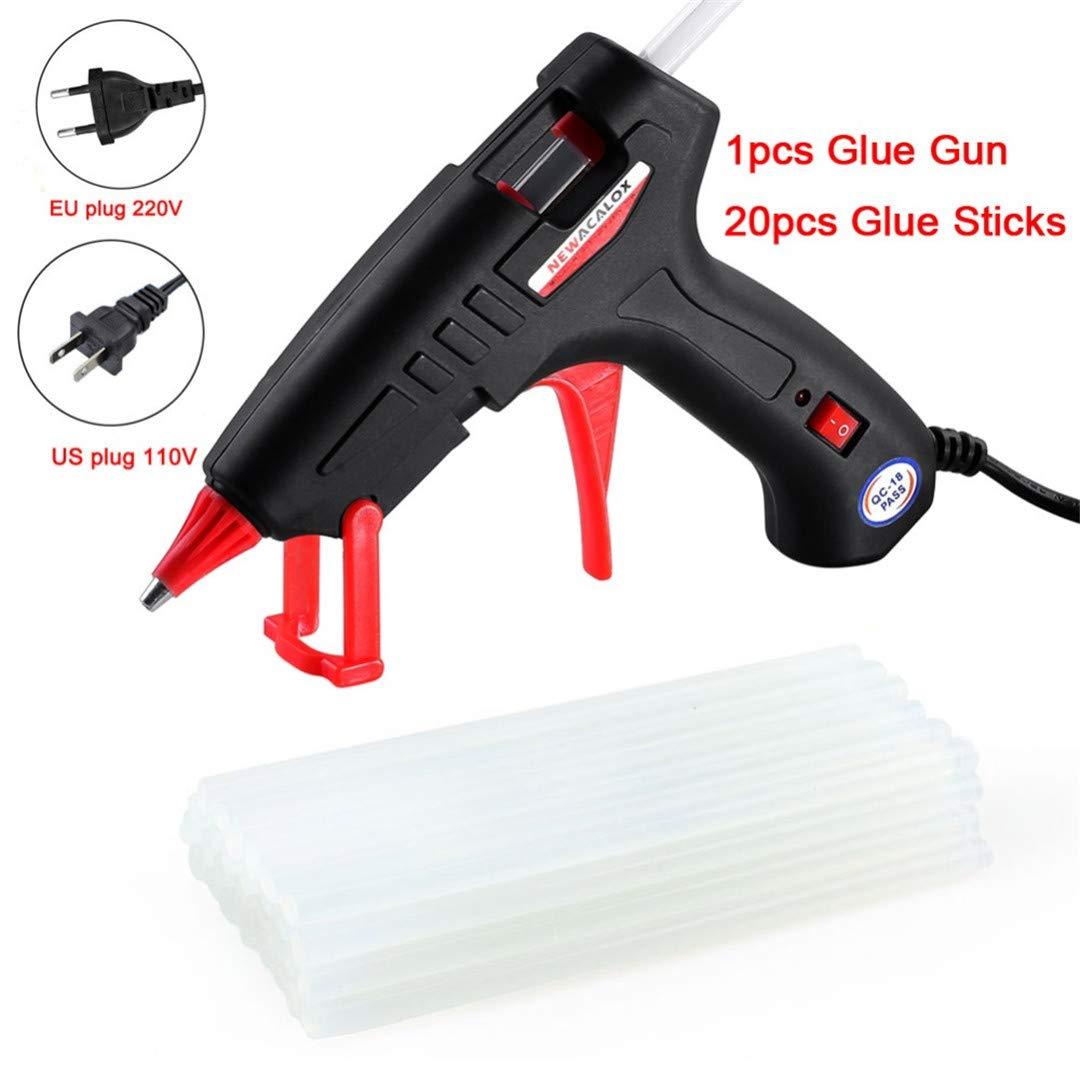 20W EU/US Hot Melt Glue Gun With Free 20Pc 7Mm Glue Stick Industrial Mini Guns Thermo Electric Heat Temperature Tool 203 Black 20W EU