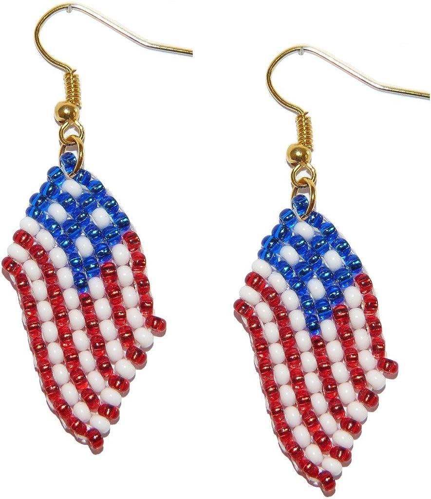 Pendientes, Estados Unidos, USA, United States, de banderas de abalorios. Joyería de trabajos de abalorios hechos a mano.: Amazon.es: Joyería