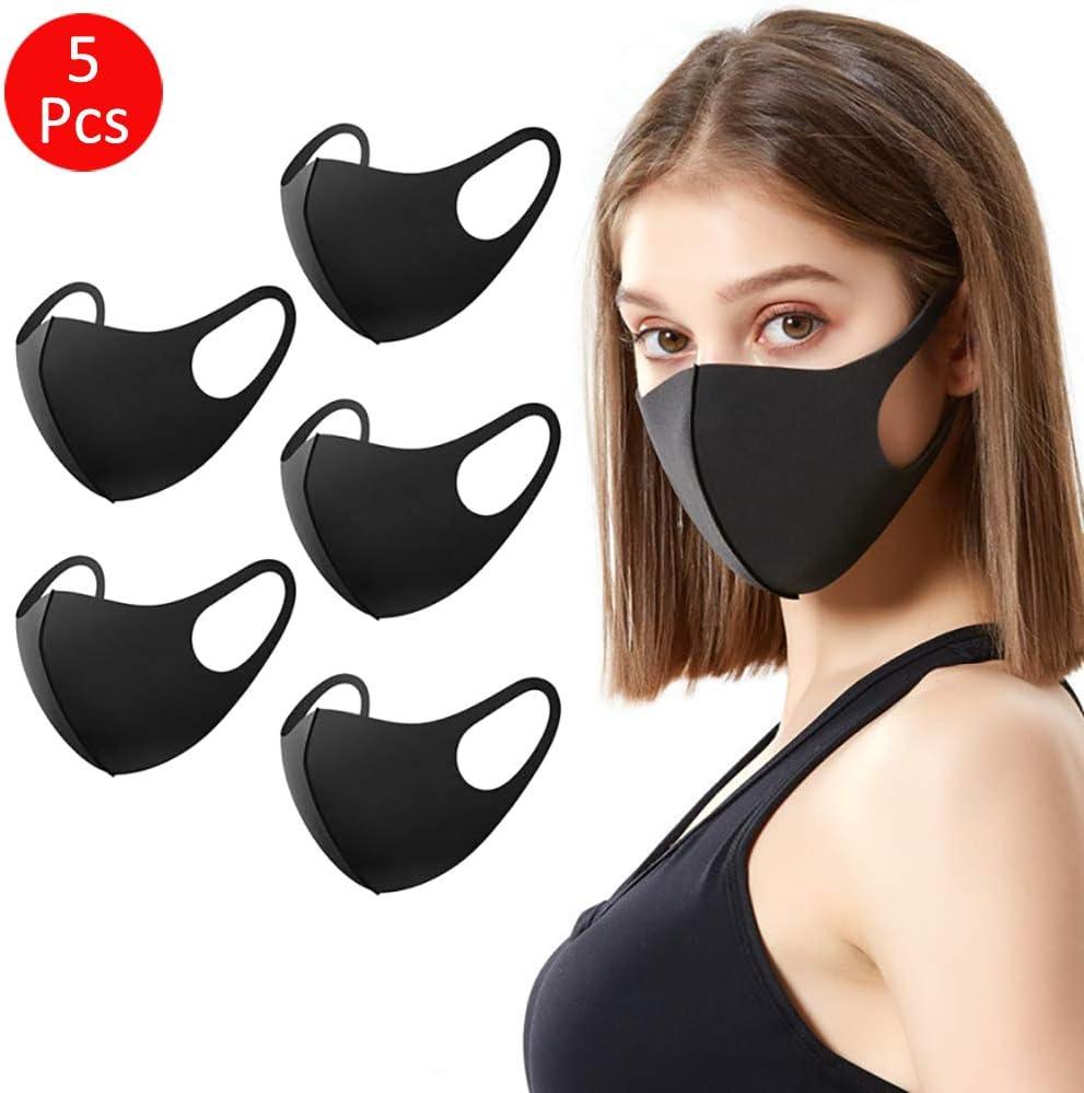 Mascarilla respiratoria 5 Piezas, Moderna mascarilla Protectora para la Boca y el Polvo protección Mujeres/Hombre Unisex Adecuado (Reutilizable, Negro)
