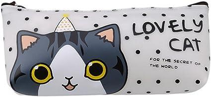 chinget jalea de goma kawaii Fácil gato patrón estuche Agua Densidad estuche alta capacidad estuche escolar requisitos, color Weiß: Amazon.es: Oficina y papelería