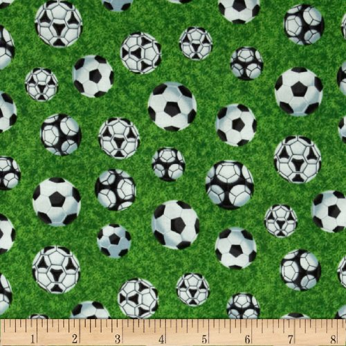 Sports Soccer Balls on Green Multi Fabric By The (Soccer Ball Fabric)