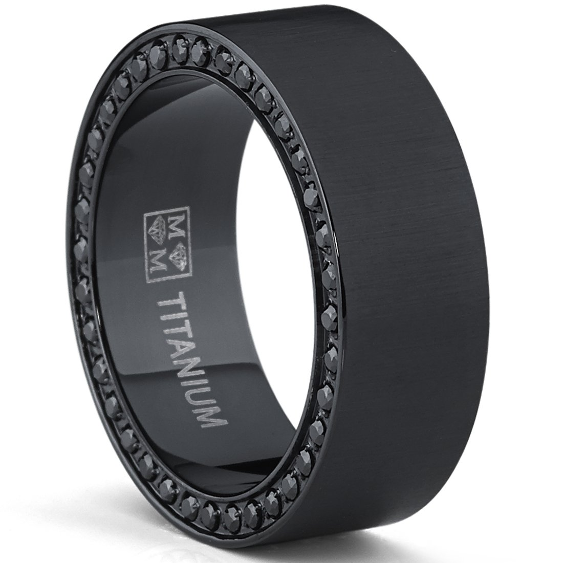 Black Titanium Men's Brushed Wedding Band Ring with Black Cubic Zirconia,Pave Set Eternity Ring TIR-1159