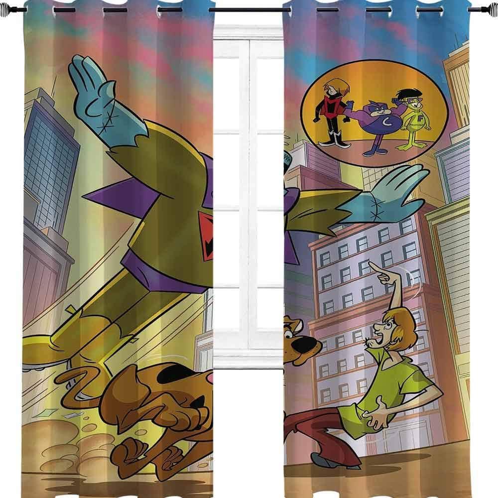 Scooby Doo - Cortinas opacas con aislamiento térmico con ojales, diseño de dibujos animados, poliéster, multicolor, 2 panel(27