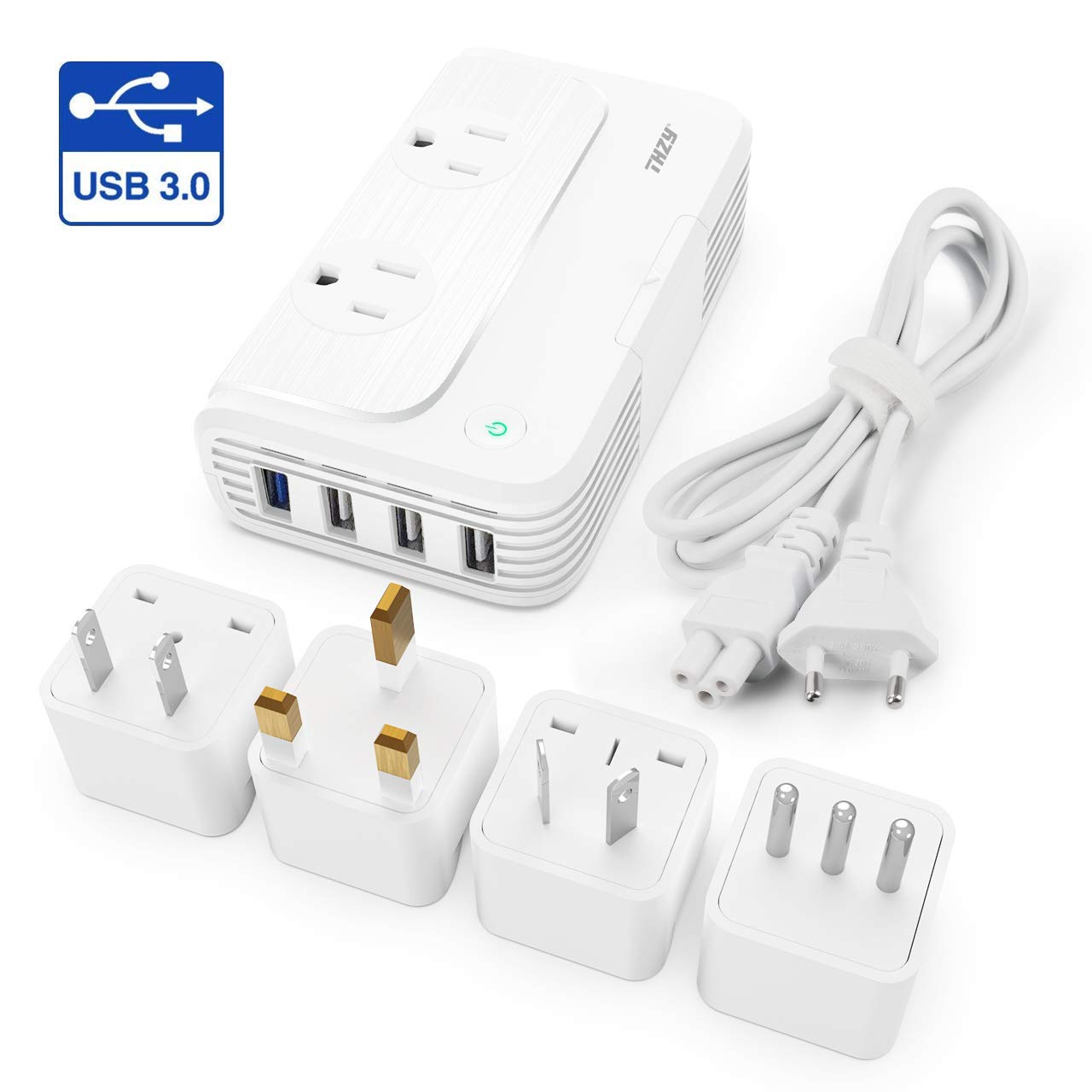 Voltage Converter Travel Adapter, LOFTWELL International Step Down 220V to 110V Converter with 4-Port USB Charging, Worldwide Plug Adapter with UK/AU/US/EU/Italy Plug for International Travel