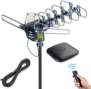 PBD Outdoor Digital HD TV Antenna 200 Miles Motorized 360 Degree Rotation with 60FT RG6 Coax Cable - UHF/VHF / 1080P / 4K Snap-On Installation