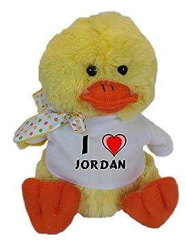 Pato de peluche (juguete) con Amo Jordan en la camiseta