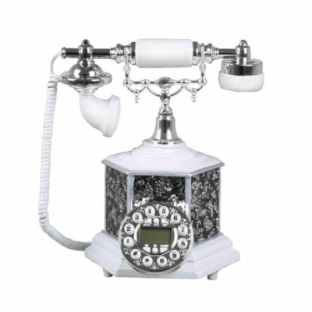 GQQ Corded Telephone Home Fixed Set Retro Phone Creative Desktop Telephone (White,Resin, 252921CM)