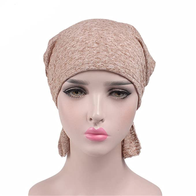 FAIRYRAIN Damen Elegante Einfarbig muslimische Turban Hut Chem Krebs Cap Kopfbedeckung Nachtm/ütze Mutterm/ütze