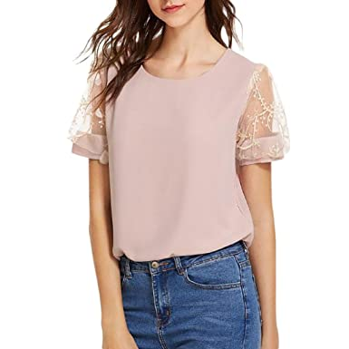 ed97fb70bd220a Frauen Casual T-Shirt Chiffon Spitze Patchwork Kurzarm Tops Damen Off The Shoulder  Strassenbande Shirt