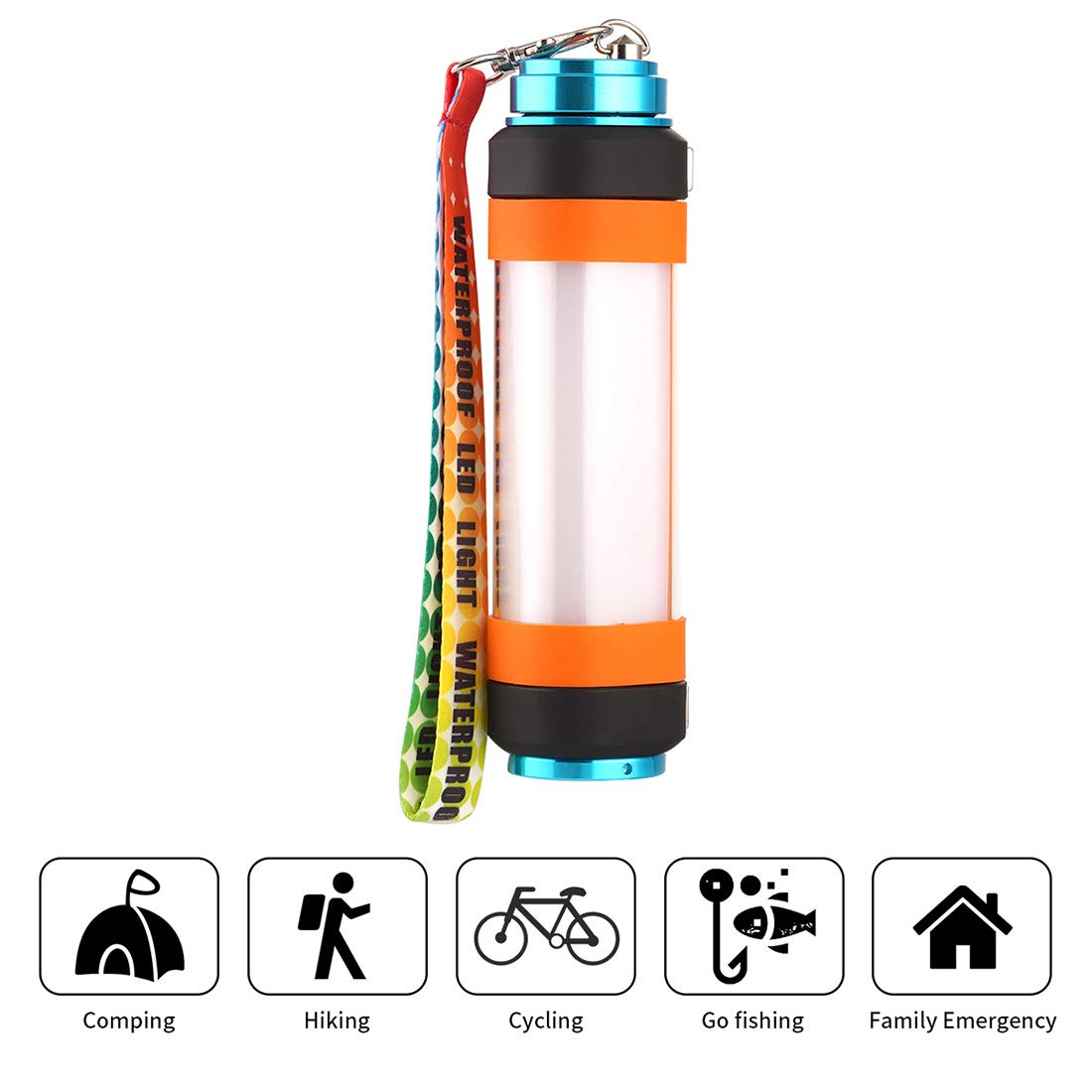 Camping Lights Camping Lantern, Rechargeable Flashlight Magnetic Flashlight Waterproof, Emergency Light 6 Light Modes, Camping Gear for Hiking, Backpacking flashlight-3w