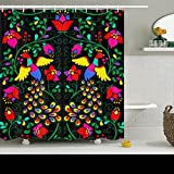 Shower Curtains Custom Decorative Seamless Pattern Mexican Style Peacock Design Waterproof Polyester Fabric Home Bathroom Decor Bath Curtain 72x72 Inches