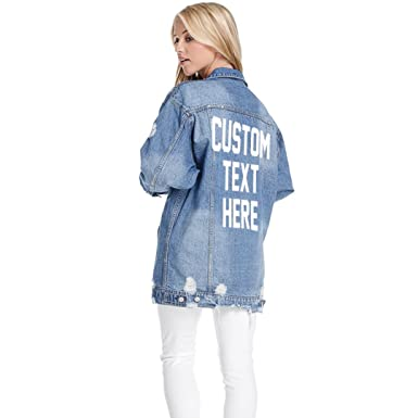 069c658ea Custom Text Long Oversized Distressed Denim Jacket- Personalize ...