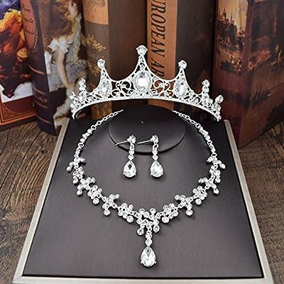 XPY&DGX Accessoires De Cheveux De Mariée En Épingle À Cheveux De Mariage,Bridal diadème couronne accessoires de mariage accessoires de cheveux bijoux de mariage trois pièces diamant coll