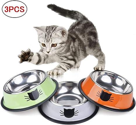 SaponinTree Cuencos para Gatos, 3 Piezas Cuencos Antideslizantes ...