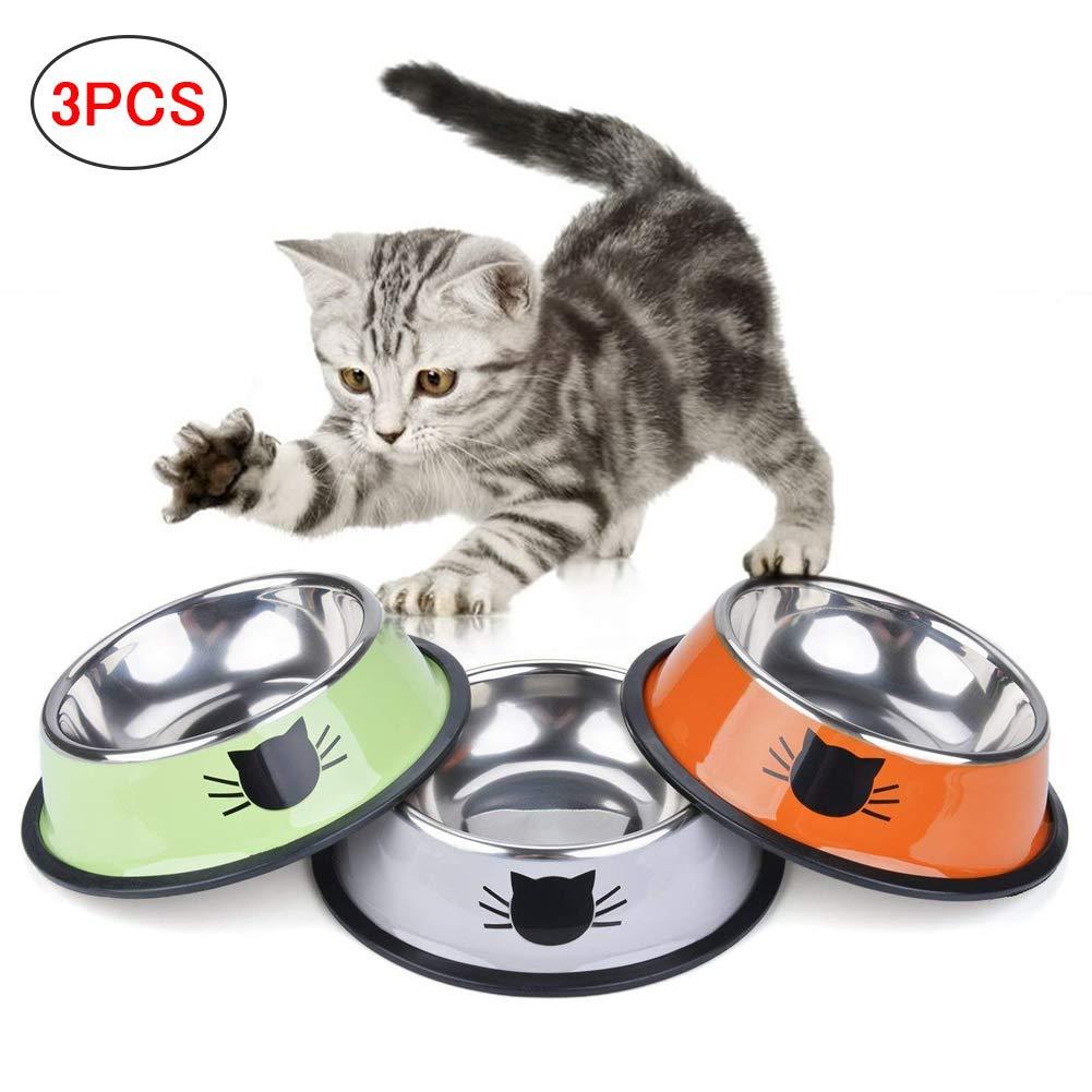 SaponinTree Cuencos para Gatos 3 Piezas Cuencos Antideslizantes de Acero Inoxidable Comida Cuencos para Gatos Cuencos Agua Comida Alimentaci/ón Platos para Mascotas Gatos Perros