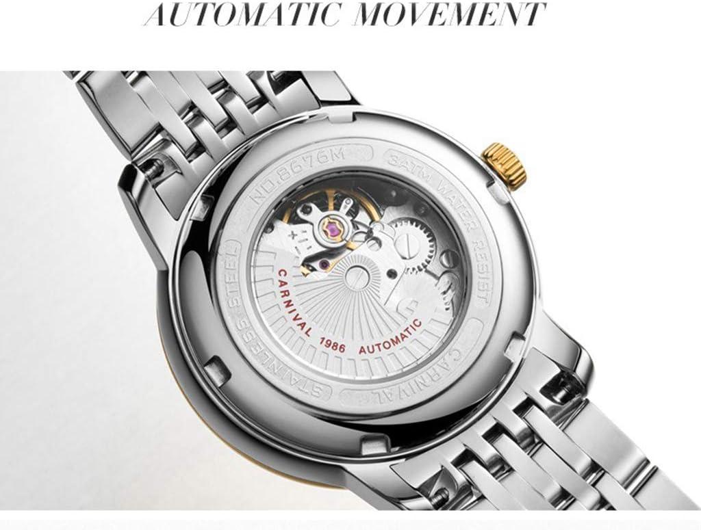 Montre Femme Automatique Mécanique Squelette Ultra-Mince Simple Cadran D'affichage Calendrier, Affaires Waterproof E