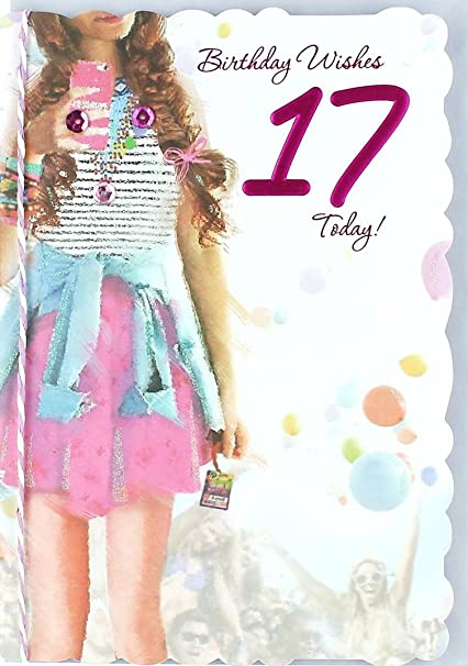 Age 17 Girl Birthday Card Young Girl Big Crowd Bright Balloons