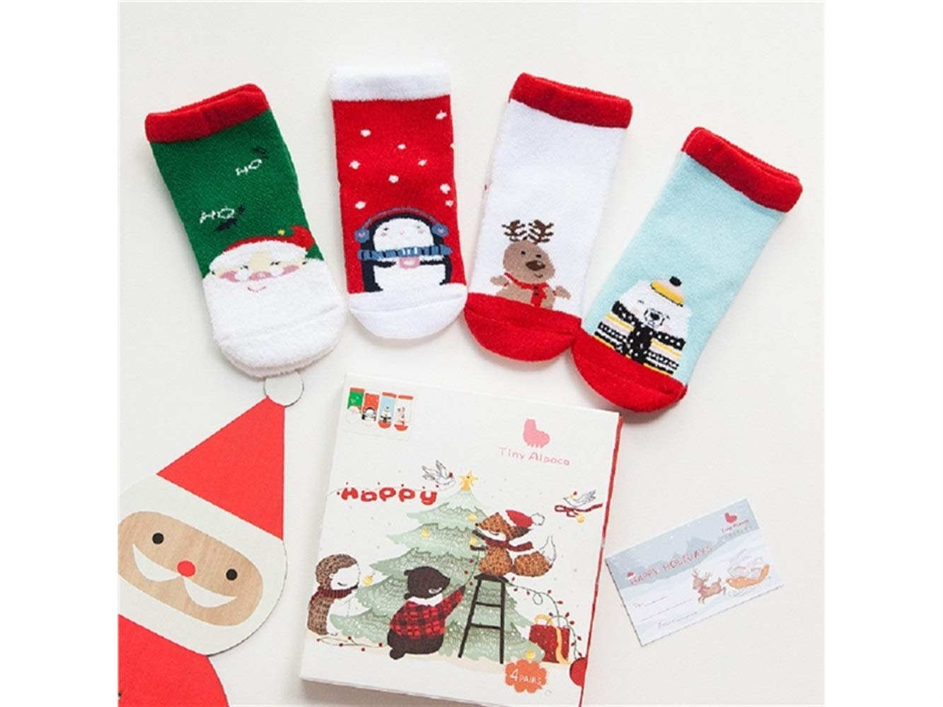 Gelaiken World Christmas 4 Pairs Children Cotton Socks Kids Autumn and Winter Christmas Terry Short Tube Socks(Multicolor)
