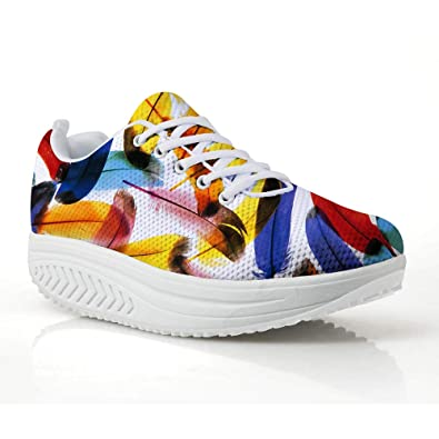 c81d9c468c7 FOR U DESIGNS Fashion Animal Feather Fitness Walking Sneaker Casual Women  Wedge Platform Shoes US 5