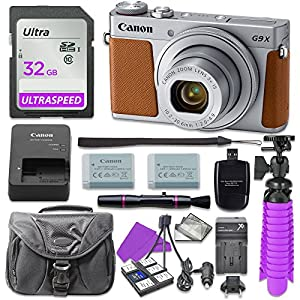 Canon PowerShot G9 X Mark II Digital Camera (Silver) with 32GB SD Memory Card + Accessory Bundle