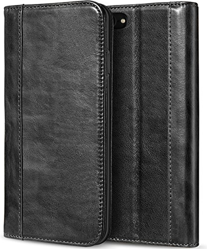 iPhone 8 Case/iPhone 7 Genuine Leather Case, ProCase Vintage Wallet Folding Flip Case with Kickstand Card Holder Protective Cover for Apple iPhone 8 / iPhone 7 -Black