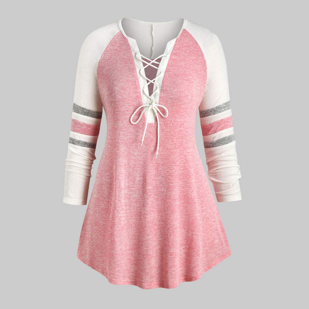 Plus Size Tunic Tops for Leggings Women NRUTUP Color Block V Neck Lace Up Henley Tops Sweatshirt Long Sleeve Oversize
