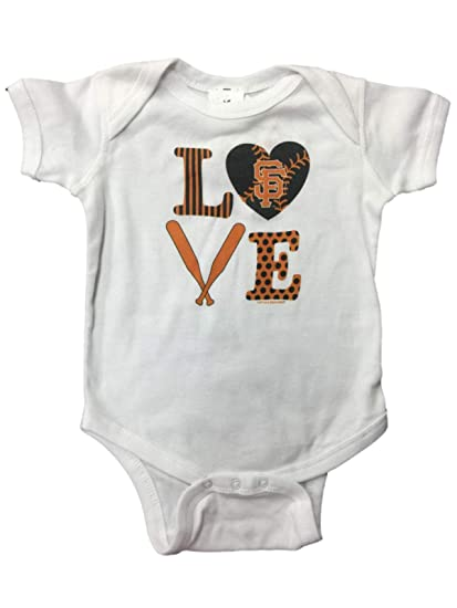 b8f3357c Soft As A Grape San Francisco Giants SAAG Infant Baby Unisex White Love One  Piece Outfit