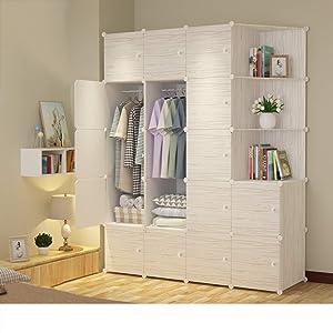 Xnxn Portable Wardrobe Armoire Organizer, Wood Grain Resin Bedroom Armoire Closet Modular Cube-s 147x47x183cm(58x19x72inch)