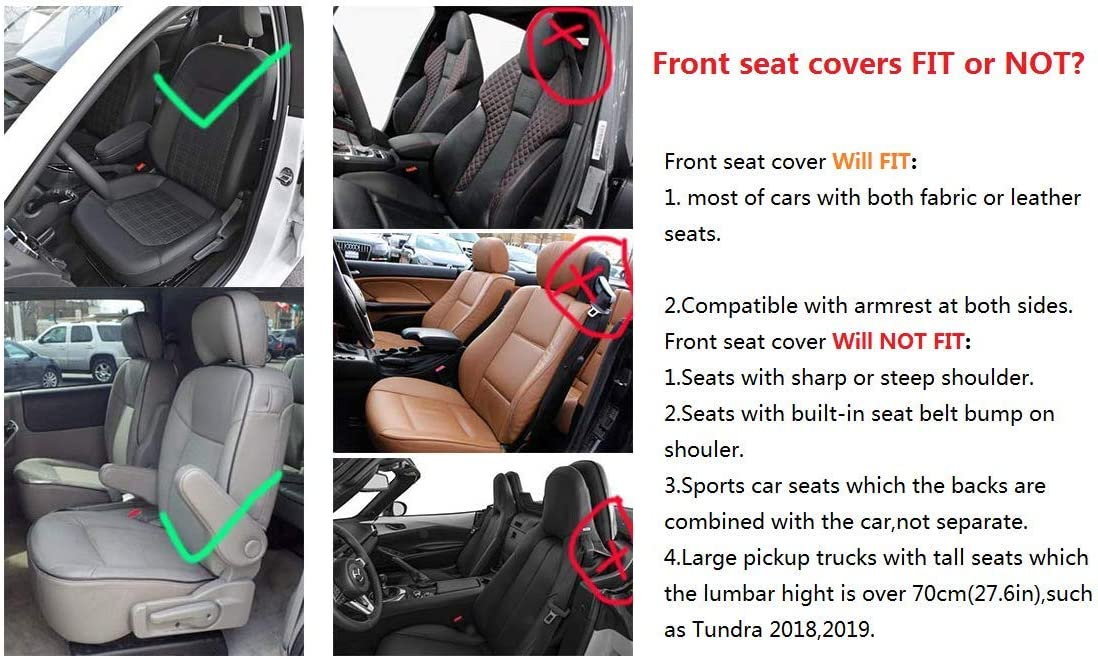 OUTOS Luxury PU Leather Auto Car Seat Covers 5 Seats Full Set Universal Fit Black-Red