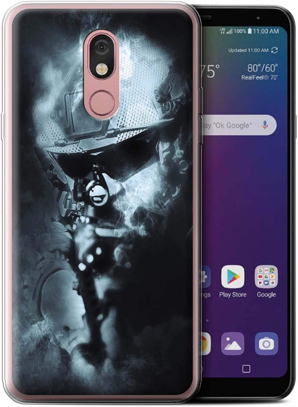 eSwish Gel TPU Phone Case/Cover for LG Stylo 5 / Ghost Soldier Design/War Battle Gaming Art Collection