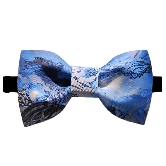 81159ebd5 Dise o De Corbata Snowberg Estampados Textiles Pajarita (Azul Cielo Negro  Blanco)
