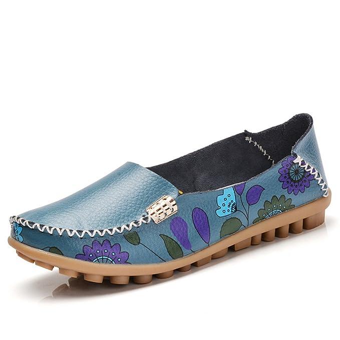 Bridfa Zapatos de mujer Casual Cuero Genuino Mujer Mocasines Planos Femeninos Mocasines Señoras Zapatos de Conducción Recortes Madre Calzado: Amazon.es: ...