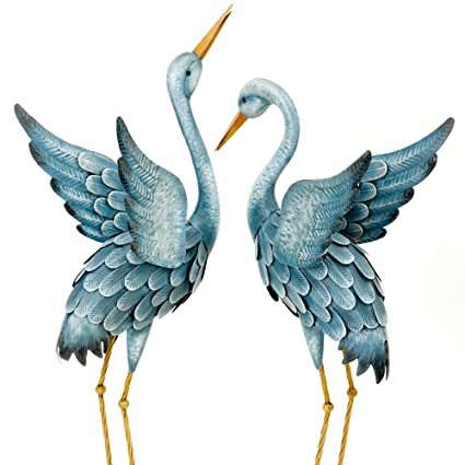 Bits And Pieces   Japanese Blue Heron Metal Garden Sculpture Set   Two  Metal Cranes Perfect
