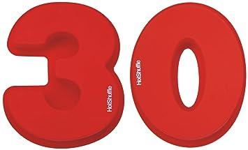 Gran número 30 de silicona Cake Tin Molde Perla 30 aniversario de boda, cumpleaños 3 0: Amazon.es: Hogar