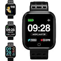 KUNGIX Smartwatch, Fitness Armband Trackers Wasserdicht Uhr Mit Pulsmesser Smart Watch Armbanduhr für Damen Herren Kinder Android iOS Mit Schrittzähler Kalorienzähler (Schwarz)