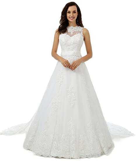 Ebelz Womens Winter Appliques High White Lace Wedding Dress Bridal Ball Gown