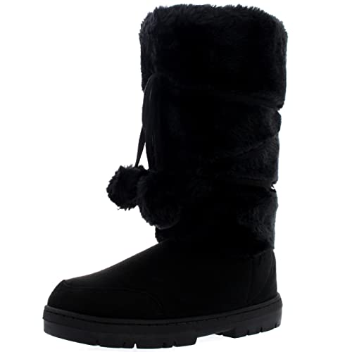 Womens Pom Pom Tall Winter Fur Lined Snow Winter Rain Warm Shoe Boots TQ_7258