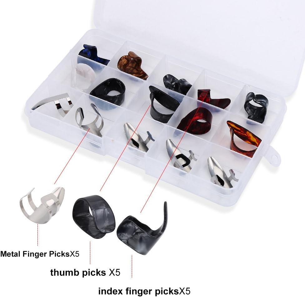15 Pcs Pulgar de Guitarra Finger Picks Guitarra Pulgar Dedo índice Selecciones Dedo Accesorio DIY con Caja de Almacenamiento para Guitarra