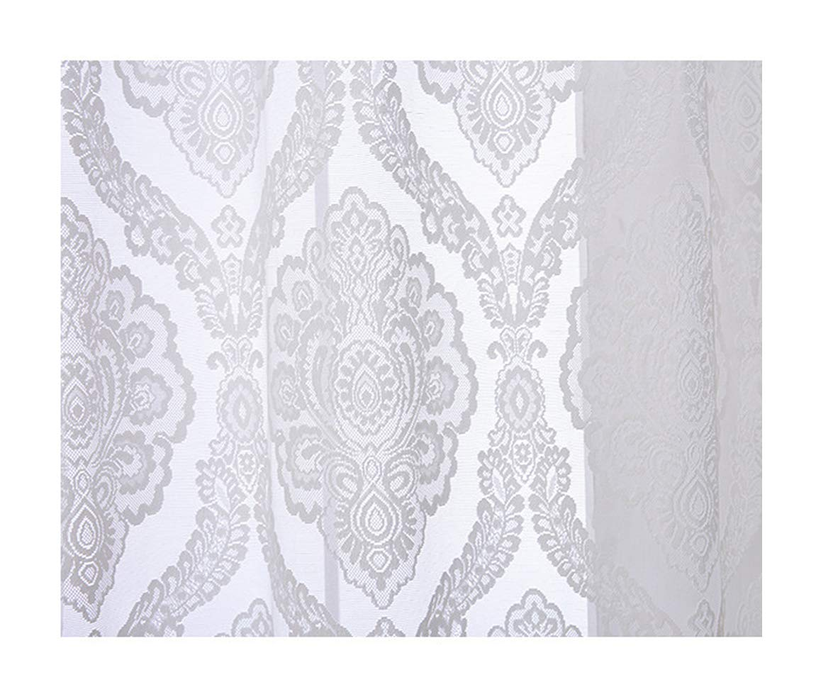 Aside Bside Sheer Curtains Victorian Style Rod Pocket Top Wavy Flowers Jacquard Permeable Window Decoration Sitting Room Houseroom Kitchen (1 Panel, W 52 x L 84 inch, White)