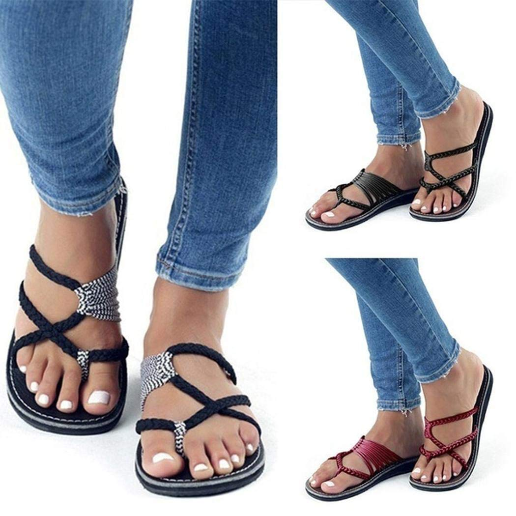 Zippem Women Fashion Cross Criss Patchwork Weave Sandals Shoes Sandals