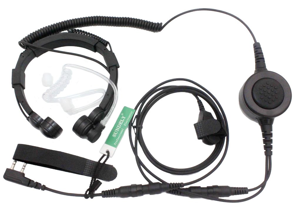 SUNDELY® Military Grade Tactical Throat Mic Headset/Earpiece with BIG Finger PTT for Baofeng Radios Walkie Talkie UV-5R BF-530 BF-777 BF-V6 C150 2-pin 122-232BF