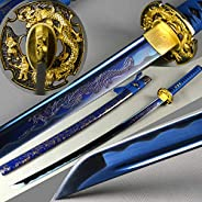 Handmade Blue Dragon samurai sword Traditional Japanese Katana Full Tang Sharp Blade Can cut Bamboo/Trees