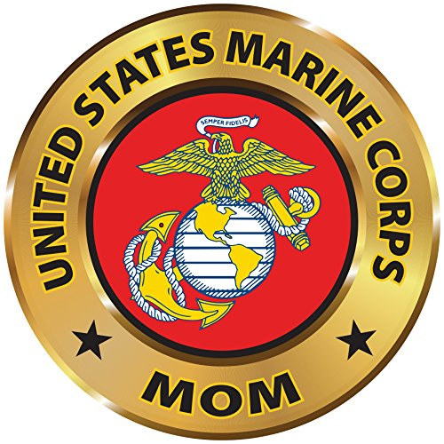 Military 6 inch Round Magnetic Auto Emblem (U.S. MARINE MOM)