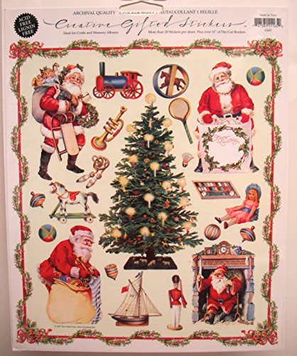 Gifted Line Stickers - Santa & Toys Victorian Scrapbook Stickers 1 Sheet By John Grossman
