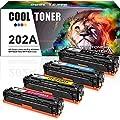 Cool Toner 4PK Compatible HP 202A CF500A MFP M281fdw M254dw Toner Cartridge for HP LaserJet Pro MFP M281fdw M281cdw HP LaserJet Pro M254dw M254 MFP M280 M281 202A Printer (CF500A CF501A CF502A CF503A)