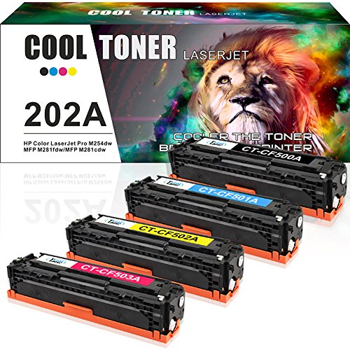 Cool Toner Compatible for HP 202A CF500A 202X CF500X Toner Cartridge for HP M281fdw HP Laserjet Pro M254dw MFP M281cdw M281fdw M281dw M280nw M254 M281 Toner Printer Ink (Black Cyan Magenta Yellow)